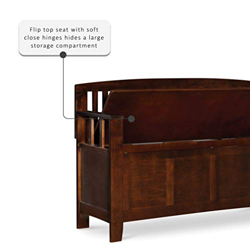 "Product Image 2: Linon Home Dcor Linon Home Decor Cynthia Storage Bench, 50""w x 17.25″d x 32″h, Walnut"