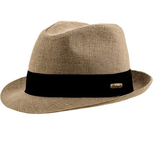 Raw style vintage genähter chapeau trilby lin, Beige, X-Large