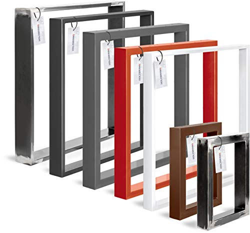 HOLZBRINK Tischkufen aus Vierkantprofilen 80x20 mm, Tischgestell 70x72 cm, Rohstahl mit Klarlack, 1 Stück, HLT-01-C-EE-0000
