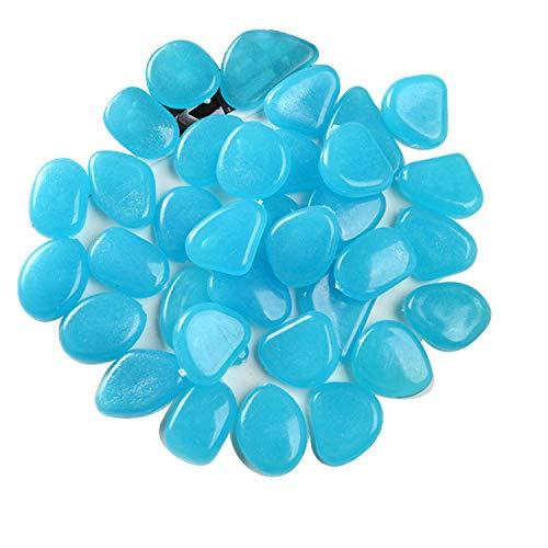 JiangLin Blau Leuchtsteine, Aquarium Leuchtende Steine 100 Stücke, leuchtet im Dunkeln, Leuchtsteine Garten Blau Dekorative Steine für Gehwege Outdoor Decor Pfad Rasen Garten Kinderzimmer