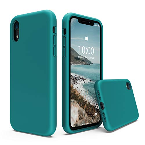 SURPHY Silicone Case Compatible with iPhone XR Case 6.1 inches, Soft Liquid Silicone Shockproof Phone Case (with Microfiber Lining) Compatible with XR (2018) 6.1 inches (Teal Blue)