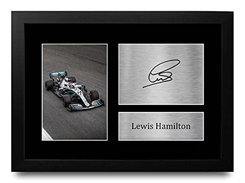 HWC Trading Lewis Hamilton A4 Enmarcado Regalo De Visualización De Fotos De Impresión De Imagen Impresa Autógrafo Firmado por Fórmula F1 Uno Ventiladores
