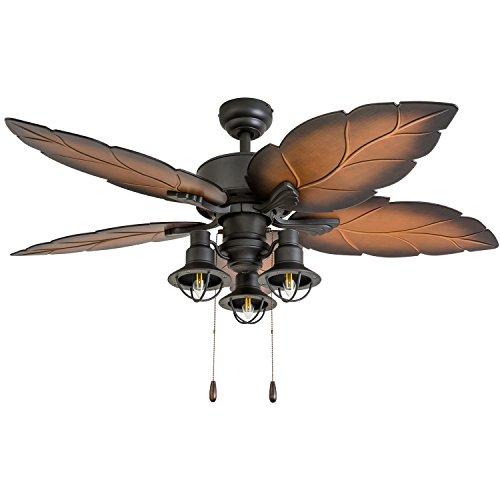 "Prominence Home 50653-01 Ocean Crest Ceiling Fan, 52"", Mocha, Tropical Bronze"