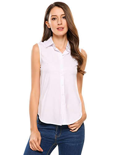 Zeagoo Women's Sleeveless Button Down Shirt Tops Solid Casual Loose Blouse,White,Medium