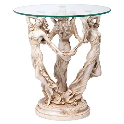 Design Toscano Die Griechischen Musen Beistelltisch mit Glasplatte, Polyresin, Antikes Steingrau, 51 cm