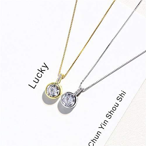 HWADMW S925 Sterling Silber Single Diamond Halskette Weibliches Modell Japanisch Einfach Koreanische Mode Set Kette 925 Silber Vergoldet