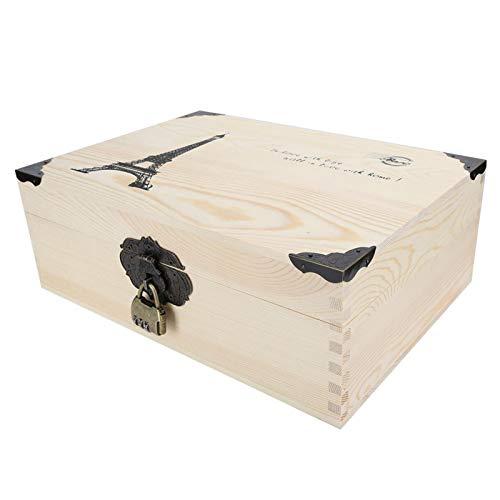 Caja de almacenamiento de madera, Caja de almacenamiento pequeña Caja de almacenamiento de madera, Con cerradura Joyas para monedas Certificado cosmético