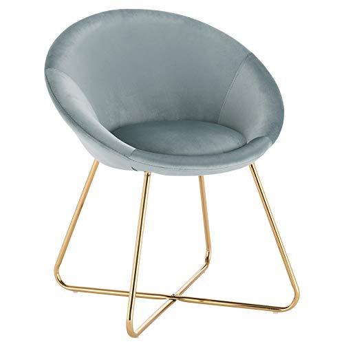WOLTU® Esszimmerstühle BH217ts-1 1x Küchenstuhl Polsterstuhl Wohnzimmerstuhl Sessel, Sitzfläche aus Samt, Goldene Metallbeine, Hellblau