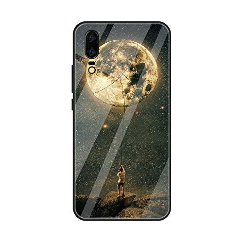 Caler Verre Trempé Arriere Protection Coque Compatible pour ZenFone Max Pro M1 (ZB601KL/ZB602KL) [Motif en Verre trempé] avec Silicone Bumper de Mignon Motif Design Mince-Souple Case Etui(La Lune)