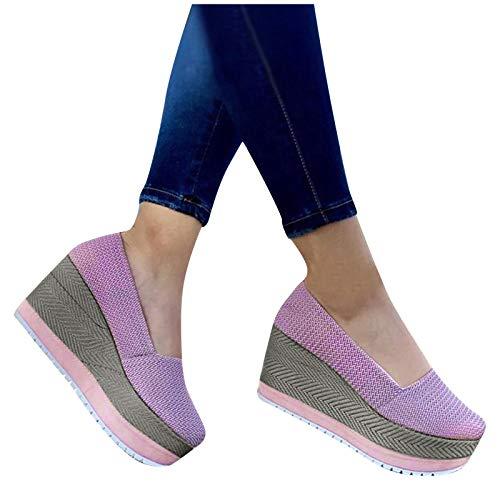 Aniywn Women's High Platform Wedge Heels Shoes Closed Round Toe Wedge Pumps Slip On Comfort Working Dress Office Shoes Purple