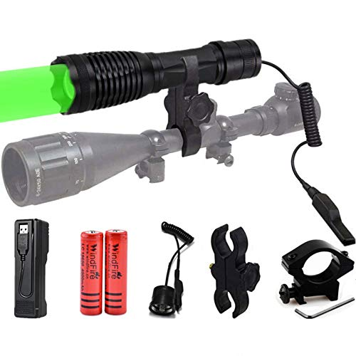 LED Linterna Táctica de luz verde 2000 Lúmenes 350 Yardas Lámpara de Enfoque Ajustable Antorcha Lmpermeable Táctica a Prueba de Agua con Interruptor de Presión, para caza, Pesca