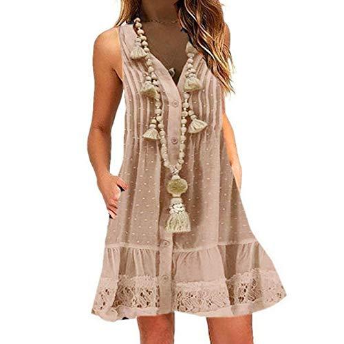 LOPILY Boho Spitzenkleid Damen Große Größen Quaste Kleid mit Rüschen Saum Hippie Kleid Aushöhlen Gepunktes Kleid Boho Minikleid Festliches...