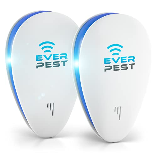 Ultrasonic Pest Control Repeller - Easy & Humane Way to Repel Rodents, Ants, Cockroaches, Bed Bugs, Mosquitos, Flies, Spiders & Bats - Eco-Friendly & Safe for Humans & Pets - 2 in Pack