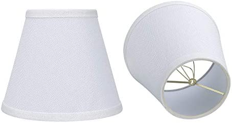 Double White Small Lamp Shade Clip On Bulb Set of 2 for Candelabra Bulbs Alucset Barrel Fabric product image