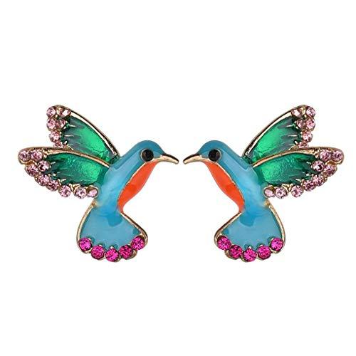 Bobury Pendientes Chapado de Las Mujeres Bird Chica Pendientes formados Decoración Rhinestone Pernos prisioneros del oído Animal Hermoso del Metal Jewerly