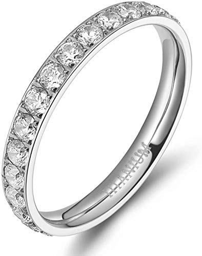 TIGRADE 3mm Women Titanium Engagement Ring Cubic Zirconia Eternity Wedding Band Size 3 to 13.5, Silver, Size 4