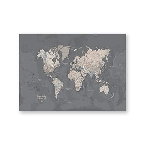 CROSYO 1 stück Weltkarte Kunstdruck Grau Poster Home Decoration, Kompass Live Karte der Welt Wandkunst Bild Leinwand Malerei Schlafsaal Dekor (Farbe : PH6910, Größe : A3 30x42 cm No Frame)