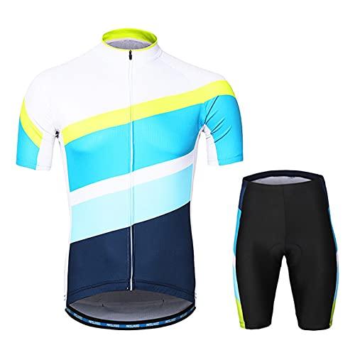 Conjunto de jersey de ciclismo para hombre, transpirable, de secado rápido, de manga corta + cojín 3D de gel acolchado pantalones cortos de ciclismo para ciclismo MTB Jogging, azul