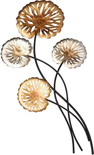 Dekoleidenschaft 3D Wand-Deko Blätter aus Metall, Bronze & Silber, 76 cm hoch, Wandschmuck, Wandbild, Wandskulptur