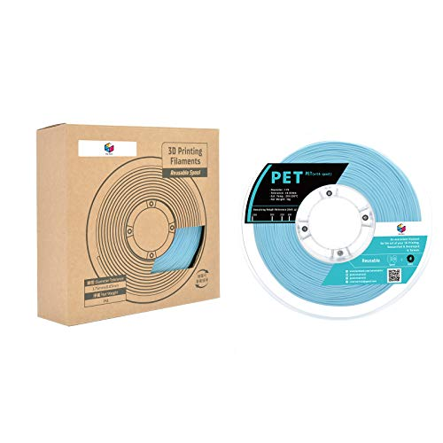 Color Matrix 1.75mm PET(Tolerance: ±0.03mm), 3D Printer Filament 1KG (=2.2 lbs), with Reusable Spool-Pale Cyan