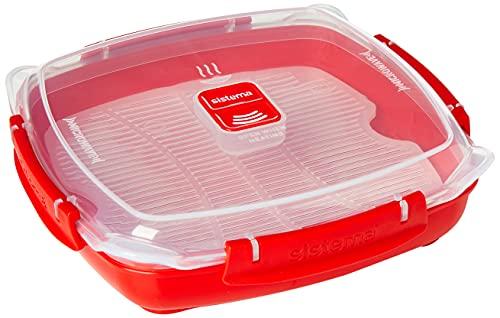 Sistema Microwave piatto da microonde con vassoio per utilizzo come vaporiera rimovibile, 800 ml, rosso trasparente