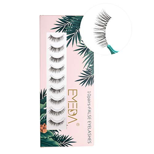 3D Falsche Wimpern 10 paare, natürliche 3D kurze Wimpern handgefertigte transparente stiel künstliche Wimpern für das tägliche Make-up von EMEDA (008)