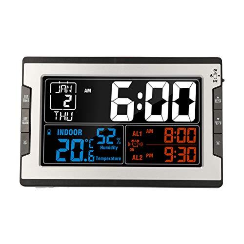 Reloj digital multifuncional KKmoon con temperatura interior, humedad, termómetro, higrómetro, termómetro e higrómetro, pantalla grande a color con luz de fondo calendario perpetuo alarma y repetición
