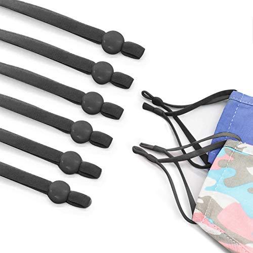 50 Pieces Elastic Mask Strap String with Adjustable Buckle Stretchy Mask Earloop Lanyard Earmuff Rope DIY Mask Making Supplies(Black)