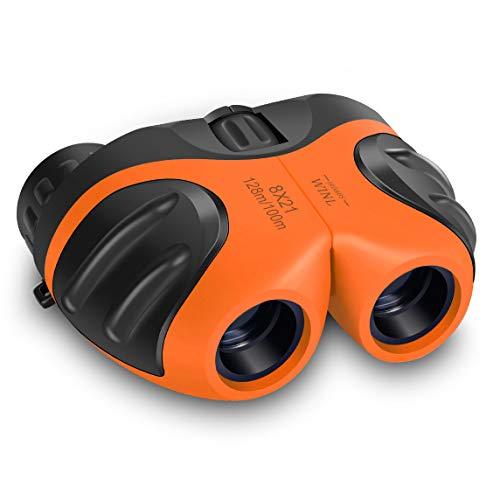 Los mejores juguetes para niños de 4 a 9 años, regalo feliz 8 x 21 compacto impermeable prismáticos de viaje, los mejores regalos para niños (naranja)
