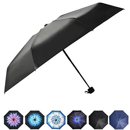 Prodigen Upgrade Travel Mini Umbrella Windproof UV Folding Compact Umbrella Portable Lightweight Sun & Rain Umbrellas for Women and Men -Black