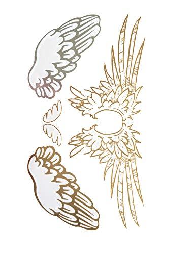 STRASS & PAILLETTES - Mini Tatouages éphémères métallique Waterproof Ailes d'ange Or Argent. Tatoo temporaire Or - Bijou de Peau