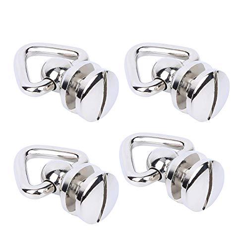 Stud Screw Rivet Metal Round Button Studs Opcional Color Ring Head Bags Ropa para artesanía de cuero (Plata)