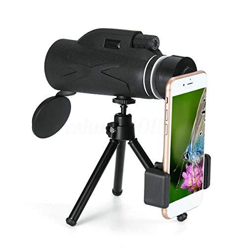 CDGC Telescopio monocular con Clip para teléfono y trípode BAK4 Prisma 80X100 Zoom HD Lente óptica Visión Nocturna Impermeable para Senderismo Camping Observación de Aves