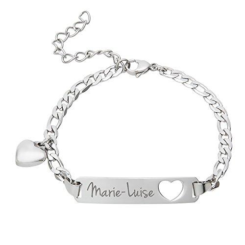 Gravado Armband aus Edelstahl mit Herz Anhänger und Karabinerverschluss, Personalisiert mit Namen, Damen Schmuck