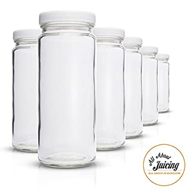 Clear Glass Water Bottles Set - 6 Pack Wide Mouth with Lids for Juice, Smoothies, Beverage Storage - Made in USA - 16 oz, Durable, Eco Friendly & BPA Free - Reusable, Dishwasher Safe, Leak Proof