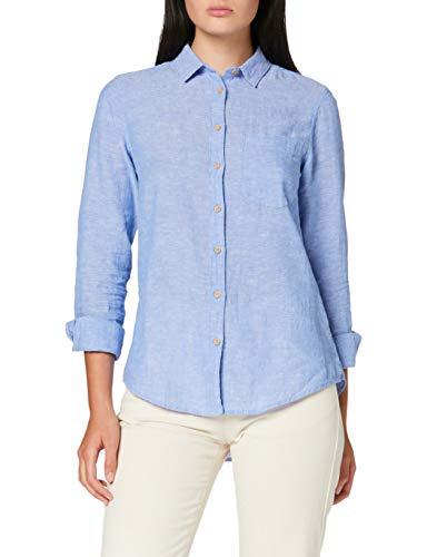 Springfield Damen 7.t.Camisa M/l Lino-c/11 Bluse, Blau (Dark-Blue 11), 36 (Herstellergröße: 38)
