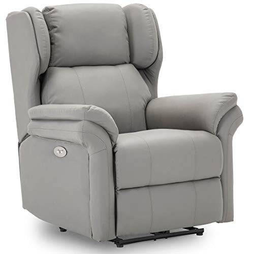 More4Homes OAKFORD ELECTRIC AUTO RECLINER WING BACK LOUNGE BONDED LEATHER CHAIR WITH USB CHARGER (Grey)