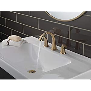 Delta 3538-CZMPU-DST Lahara 2-Handle Widespread Bathroom Faucet with Diamond Seal Technology and Metal Drain Assembly, Champagne Bronze