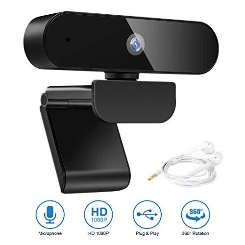 LAMA 1080P HD Webcam mit Mikrofon 360° drehbar USB Webkamera mit 3,5mm Kopfhörer für PC Laptop Mac ChromeOS Android Konferenz Videoanruf Online Unterricht Live Streaming Skype FaceTime Hangouts usw.