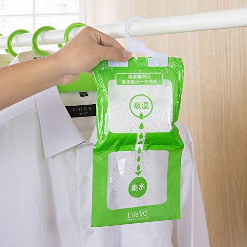 190g Interior Dehumidifier Desiccant Damp Storage Hanging Bags Wardrobe, Home & Garden for Christmas Day (Green)