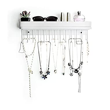 JackCubeDesign Hanging Jewelry Organizer Necklace Hanger Bracelet Holder Wall Mount Necklace Organizer with 25 Hooks(White/16.38 x 4.88 x 2.93 inches) - :MK124C