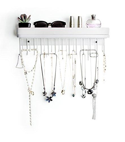 JackCubeDesign Hanging Jewellery Organizer Halskette Kleiderbügel Armbandhalter Wandhalterung Halskette Organizer mit 25 Haken (Weiß / 41,6 x 12,4 x 7,4 cm) -: MK124C