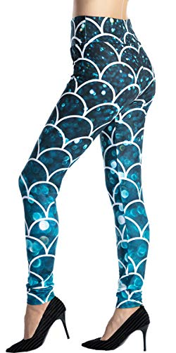 Ndoobiy High Waist Printed Leggings Women's Solid Leggings Soft Yoga Workout Pants Stretchy Capris HW2(fishscale PS)