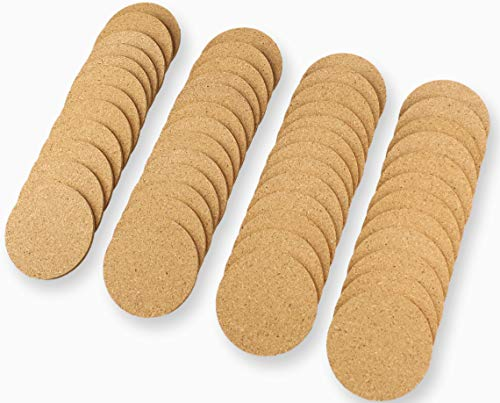 Natural Cork Coasters Round 3.86 inch 50pc Set 3/16' Thick Plain Absorbent Heat-Resistant Reusable Saucers for Cold Drinks Wine Glasses Plants Cups & Mugs Blank coaster Surface grinding For DIY custom
