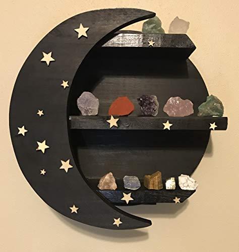 CHAMAMA Moon Shelf, Black Shelves for Wall, Essential Oil Shelf, Crystal Display Shelf, Moon Shaped Shelf for Crystals, Moon Decor, Wooden Moon Shelf, Black Shelves for Wall, Crystal Shelf (Ebony)