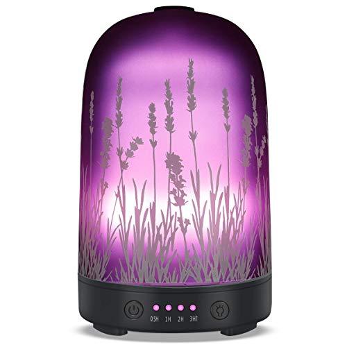 Lavendel-Aroma-Diffusor für ätherisches Öl, 250 ml, Aromatherapie, Ultraschall, kühler Nebel, flüsterleiser Luftbefeuchter, automatische Abschaltung und 7-farbige LEDs, für Zuhause, Büro, Yoga, Spa