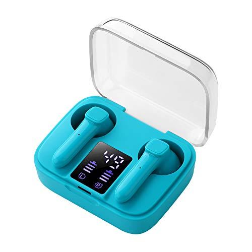 Auriculares inalámbricos Bluetooth 5.0, Mini Bluetooth Sin Cable Sport Cascos con Estuche de Carga de micrófono Sonido Estéreo LED Pantalla, compatibles con iPhone Android iOS (Azul)