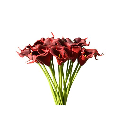 Mandy's 20pcs Dark Red Artificial Calla Lily Silk Flowers 13.4