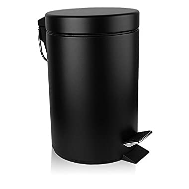 H+LUX Mini Garbage Can,Round Step Trash Can with Soft Close Lid and Removable Inner Wastebasket for Bathroom Bedroom Office,Fingerprint Resistance,0.8 Gallon/3 Liter,Black