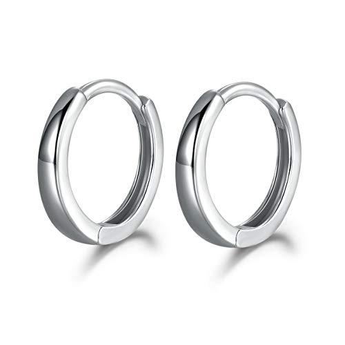 MASOP Unisex Klein Creole 925 Sterling Silber Ohrringe ohne Zirkonia für Damen Mann